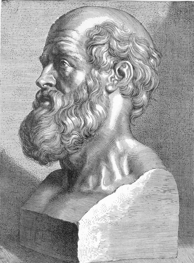 Drawing of bust of Hippocrates