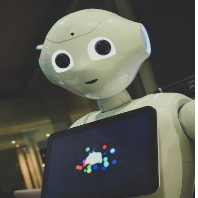 Robot holding tablet computer