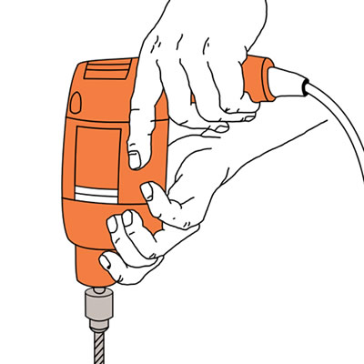 hand holding a drill