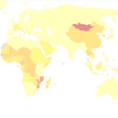section of global map of liver cancer incidence