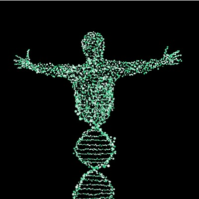 DNA diagram turns into the shape of a human