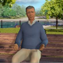 Screenshot of 'Nathan' from the interactive prostate cancer simulation. Developed by the Centers for Disease Control and Prevention, Kognito and the National Association of Chronic Disease Directors