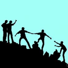 graphic of people helping each other up a hill